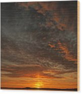Morecambe Sunset Wood Print by Christopher Mercer