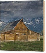 Mormon Barn Under Approaching Storm Wood Print