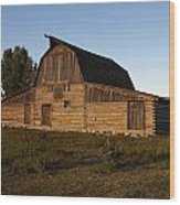 Mormon Row Barn Sunset Wood Print