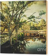 Morning At The Harbor Park Wood Print
