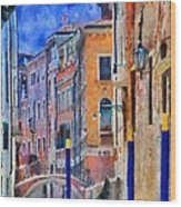 Morning Calm In Venice Wood Print