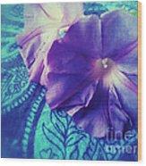 Morning Glories On Paisley Wood Print
