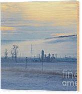 Morning Landscape In Winter Wood Print