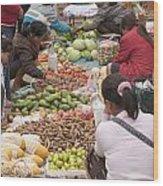 Morning Market In Luang Prabang Wood Print by Roberto Morgenthaler