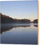 Morning Mist At Haukkajarvi Wood Print