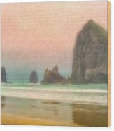 Morning Mist At Haystack Rock Wood Print