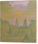 Morning Mist Over Lake Wood Print