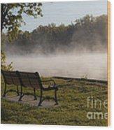 Morning Mist Over The Hudson River Wood Print