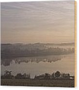 Morning Mist Over Vartry Lake, County Wood Print