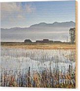Morning Mists Of Cutler Marsh - Utah Wood Print