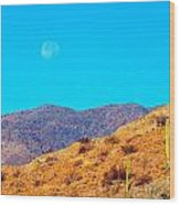 Morning Moon In Baja Wood Print