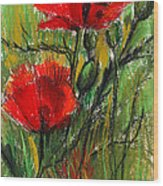 Morning Poppies Wood Print