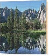 Morning Reflection At Yosemite Wood Print