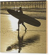 Morning Session Longboard Surfing Folly Beach Sc  Wood Print