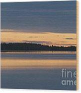 Morning Sun Rising At Arctic Sea Wood Print