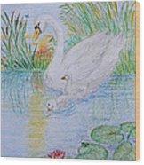 Morning Swim I  Original Colored Pencil Drawing Wood Print
