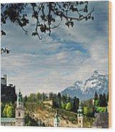 Morning View Of Salzburg From Kapuzinerberg Wood Print
