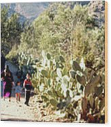 Moroccan People And Cacti Wood Print