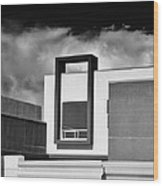 Morrison Window Bw Palm Springs Wood Print
