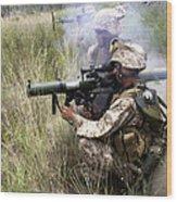 Mortarman Fires An At4 Anti-tank Weapon Wood Print by Stocktrek Images