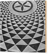 Mosaic Black And White Floor Wood Print