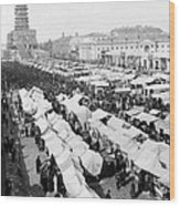 Moscow Russia - The Great Sunday Market - C 1898 Wood Print