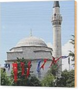 Mosque And Flags Wood Print