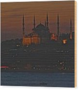 Mosque At Dusk Wood Print
