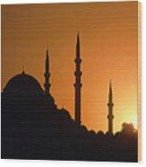 Mosque Hagia Sofia At Sunset, Istanbul, Turkey Wood Print