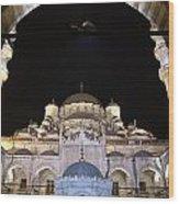 Mosque Yeni Camii At Night Wood Print