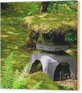 Mossy Japanese Garden Lantern Wood Print
