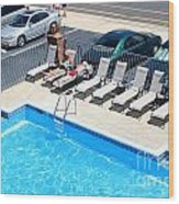 Motel Pool And Surroundings Wood Print