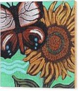 Moth And Sunflower Wood Print