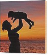 Mother And Child Sunset Silhouette Wood Print