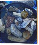 Mother Earth Stones Reloeding Fullmoon Energy In Ice Cold Water Wood Print