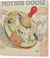 Mother Goose Spinning Top Wood Print