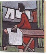Mother  Ironing Wood Print
