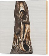 Mother Mourning Her Son Who Died In A War Large Hands Womb Inside Long Hair Sad Face Wood Print
