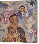 Mother Theresa And Michael Jackson For The Lost Children Wood Print by Jocelyne Beatrice Ruchonnet