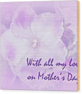 Mother's Day Greeting Card - African Violets Wood Print