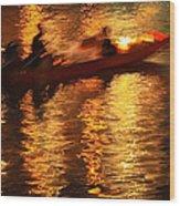 Motion Blur Photo Of Bangkok Local Speed Boat On Chao Phra Ya Ri Wood Print
