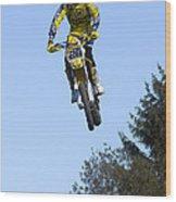 Motocross Rider Jumping High Wood Print by Matthias Hauser