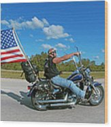 Motorcycle And Flag Wood Print