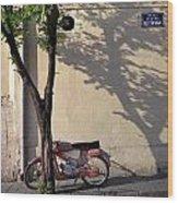 Motorcycle And Tree. Belgrade. Serbia Wood Print