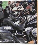 Motorcycles - Harleys And Hondas Wood Print