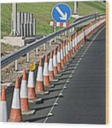 Motorway Traffic Cones Wood Print