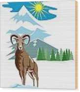 Mouflon Sheep Mountain Goat Wood Print by Aloysius Patrimonio