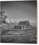 Moulton Barn Bw Wood Print