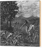 Mound Builders: Farming Wood Print