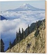Mount Adams Above Cloud-filled Valley Wood Print